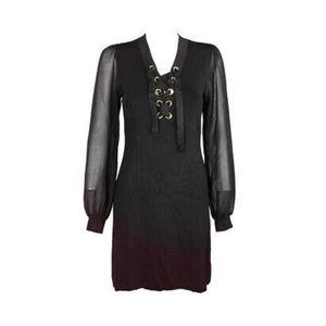 INC lace-up illusion dress